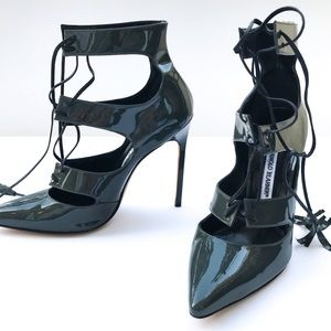 Manolo Blahnik Grey Patent 'Visu' Tassel Heel 38.5